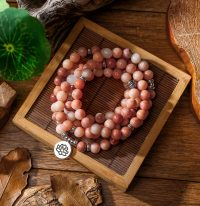 Women's Pink Aventurine Beaded Bracelet with Lotus OM Buddha Charm Yoga Men