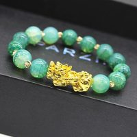 Gold plated bracelet PIXIU Feng Shui for women and men, colored beads