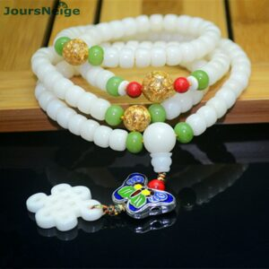 Bodhi Bracelets in Natural White Seed, Butterfly Pendant and Chinese Knot