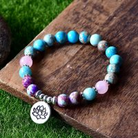 Yoga Bracelets for Women, Mix of Natural Stones, Stretch Charms