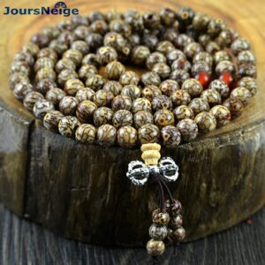 Bracelets 108 round crystal beads, multi-layered 6mm wood