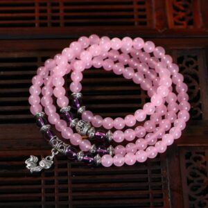 Pink Chalcedony Natural Stone Bracelets for Women, 108 6mm Round Beads, Tibetan Crystal, Silver Fox,
