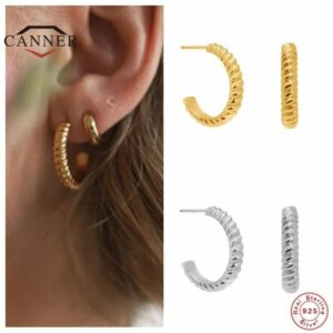 Sterling Silver Twisted C Shaped Stud Earrings for Women Gold Color