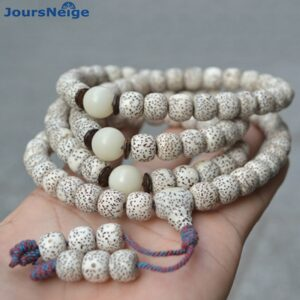 Bodhi bracelets in natural wood, 108 beads
