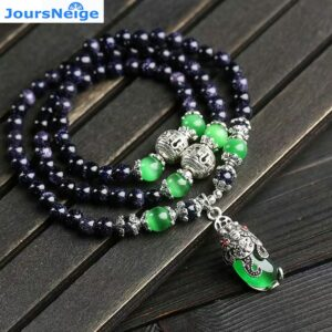 Natural Stone Bracelets, Dark Blue and Sand, Green Cat Eye Pi Xiu Pendant, Multilayer Jewelry