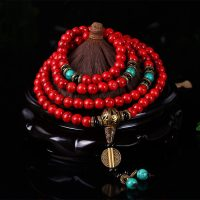 Mala Buddhist Prayer Bracelets, 8MM Beads, Red Pine Stones, Yoga Meditation Necklace