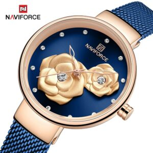 Ladies hand watch with golden rose