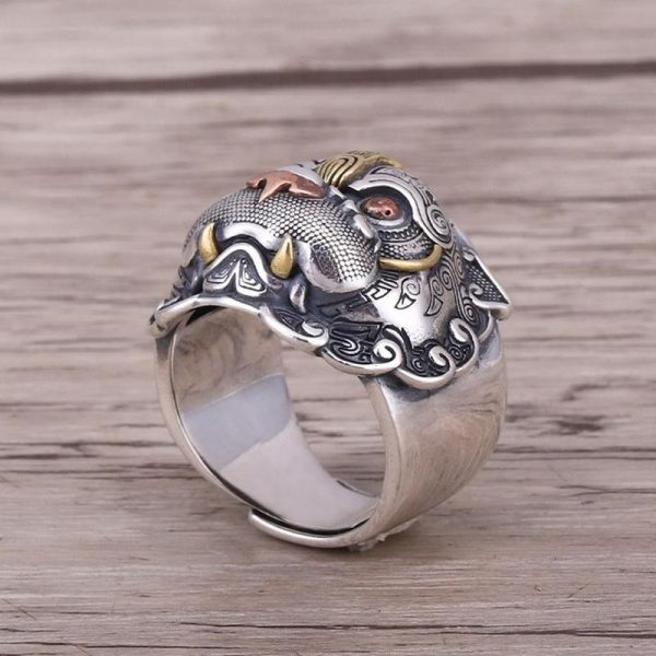 Bague chinoise Feng Shui bête gloutonneux animaux