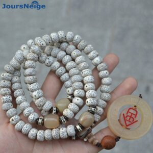 Natural Bodhi Bracelets 108, Pearl Claw Pendant, Wood