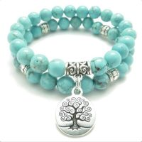 "Een prachtige Koppelarmband ""Tree of Life"" in Trendy Turquoise Rock"