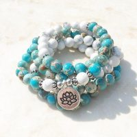 Inexpensive this Lotus flower bracelet with 108 beads in Ocean Jasper and Howlite. trend 2021