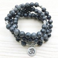 "A beautiful Bracelet Mala ""Om"" 108 Trendy Natural Gray Labradorite Beads"