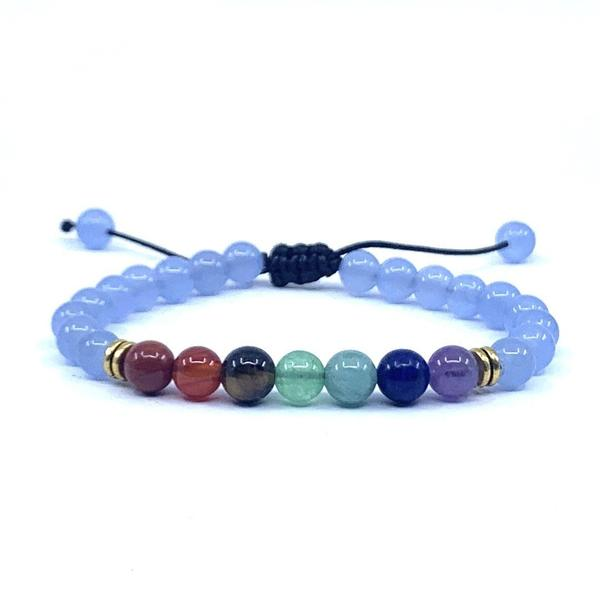 """Inexpensive this Bracelet for children seven Chakras """"Expressions"""" in aquamarine. trend 2021"""