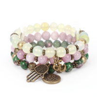 "Inexpensive this ""Emotional"" Three Level Bracelet in Lepidolite, Grape Agate and Clinoz. trend 2021"