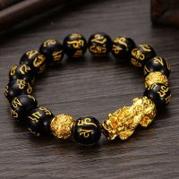 Pearl bracelet Feng Shui golden obsidian, black, Pixiu, wealth and good fortune