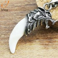Mens Wolf Teeth Pendant Necklace