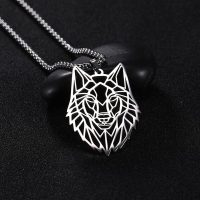 Mens and Womens Stainless Steel Wolf Necklace Animal Pendant