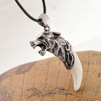 Mens Gothic Punk Wolf Teeth Necklace