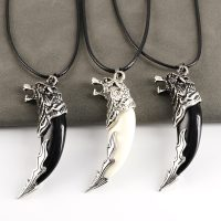 Mens Wolf Teeth Alloy Necklace