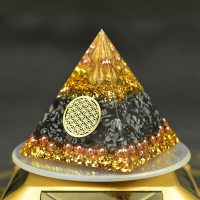Orgonite Pyramid of Reiki Energy, Decorative Handcrafted Resin Cube, to Recover Fortune and Help Soothe Soul, Chakra