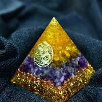 Aura Crystal Orgonite Pyramid, Energy Converter, Calm the Soul, Change the Magnetic Field of Life, Resin Jewelry