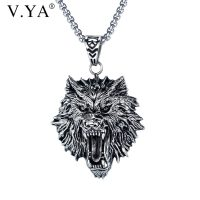 Mens titanium and steel necklace, wolf head pendant