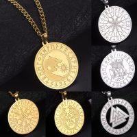 316L Stainless Viking Vegvisir Wolf Raven Star Triangle Lance Pendant Men Necklace Nordic Runes Amulet Chain Jewelry Drop Shipping