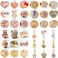 Crystal Jewelry for Women, Luxurious, Gold Color, Bee Crown, Dog, Flower, Lobster, Hearts, Beads, Suitable for Pandora Bracelets, DIY