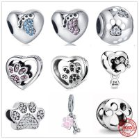 Original Pandora Bracelet in 925 Sterling Silver, Sparkling Paw and Heart Print, Gift for Women