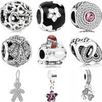 Original Pandora Bracelets for Women, DIY Jewelry, Crystal Charms with Butterfly and Horse Key, Good Quality