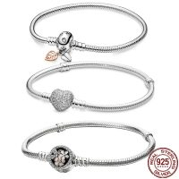 Classic 925 Sterling Silver Bracelets For Women, 9 Styles, Original, 3mm, Beaded Charms, Trendy Gift, Drop Shipping