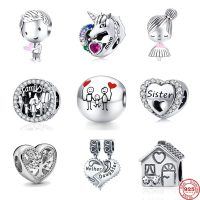 Original 925 Silver Pandora Charm for Women, Beads Fit for Mother and Daughter Family Tree, DIY, Trinket Jewelry