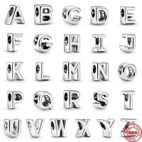 Original Pandora Charm in Sterling Silver 925, 26 English Letters, Beads, Women's Berloques Making