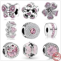 Pandora Charms 925 Sterling Silver Dazzling Pink Zirconia Heart and Butterfly Beads Suitable for Original Bracelets, Jewelry Making, New Collection