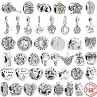 Original 100% Sterling Silver Pandora Charms, 925, Snowflakes Beads, Family Tree, Feather, Boy, Dangle, DIY, Women's Jewelry