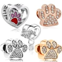 Dog paw print charms, love pendant, beaded jewelry, suitable for original pandora bracelets, necklace accessories for women