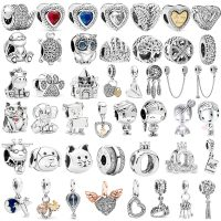 Lucky Cat Safety Chain, Silver Color, Dog Paw, Crown, Owl, Love Pendant, Fits Pandora Charms Bracelets, DIY, Original Jewelry for Women