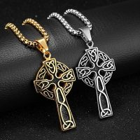 Mens viking celtic cross pendant necklace vintage punk charm jewelry stainless steel trendy 2021