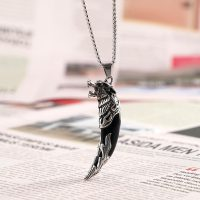 Wolf Pendant Necklace for Men, Ethnic Style, Stainless Steel, Adult Ceremony, Warrior