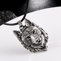 Mens Wolf Head Pendant Necklace, Viking Jewelry, Vintage, Metal and Silver Plated, Totem, Accessory