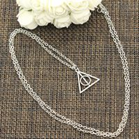 The Deathly Hallows Necklace for Men and Women, Short and Long Pendant, Silver Color, Choker, Gift, 22x21mm, New Fashion