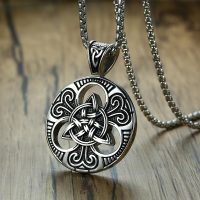 Vintage Viking Odin Celtic Knot Necklace for Men, Irish Punk Chain, Pendant and Jewelry