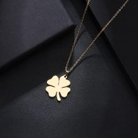 DOTIFI - Stainless Steel Necklace for Men and Women, Gold and Silver Color Clover Pendant, Engagement Jewelry