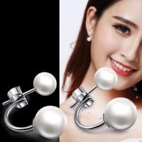 NEHZY - Women's 925 Sterling Silver Earrings, Double Pearl, Fashionable, Crescent, Princess Temperament, Jewelry, New Collection