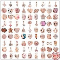 New Original Accessories for Chain Pendants, Pink Pearl Dangle Clip, 925 Silver Pandora Charms, Bracelet and Necklace, Women's Jewelry DIY