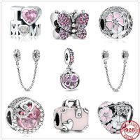 Original Pandora Pendant in 925 Sterling Silver, Fine DIY and Pavé, Safety Chain Charm