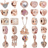 Ranqin - Rose Gold Angel Wings, Flower Shaped Bee Crown Pendant, Beads Suitable for Pandora Original, Women's Jewelry DIY