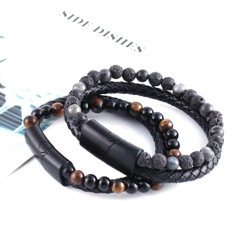 New Black Stainless Steel Magnetic Clasp Tiger eye Bead Bracelet Men Fashion Jewelry Natural Stone Genuine Leather Bracelet