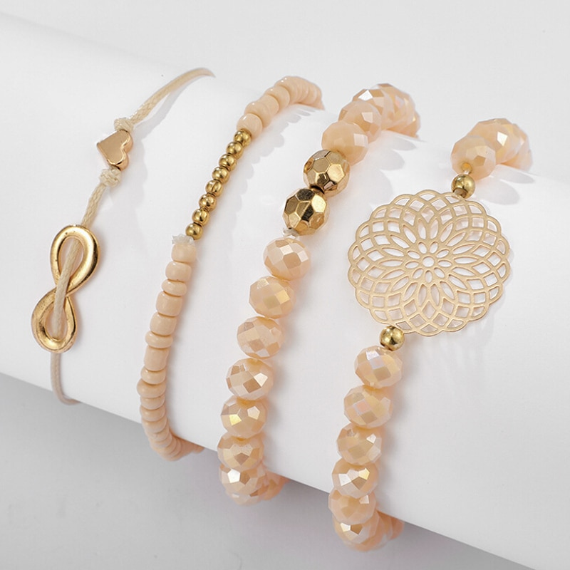 4PCS/Set Multilayer Crystal Beads Bracelets & Bangles Bohemian Charm Jewelry For Women Gift